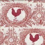 Ecru quiltstof met oud rood patroon van hanen