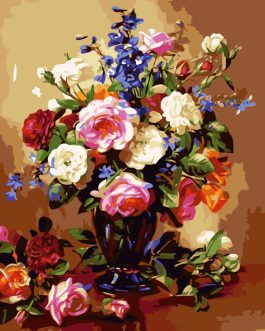 Schilderen op nummer Bouquet Rozenin vaas
