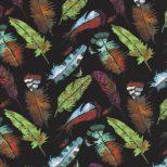 Zwarte quiltstof met gekleurde veren -Stof fabrics