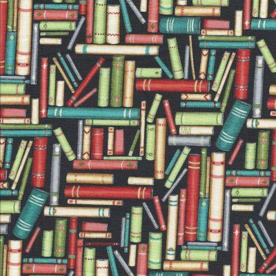 Zwarte stof met gekleurde Boeken-Stof Fabrics