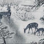 Witte stof met zilvergrijze herten in de sneeuw