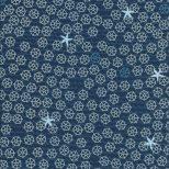 Donker blauwe stof met beige en blauwe stuurwieltjes en zeesterren