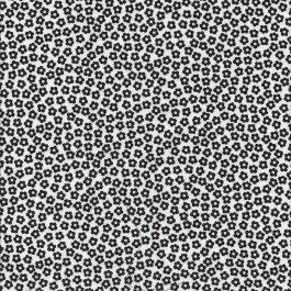 Gebroken witte stof met zwarte bloemetjes-Stof