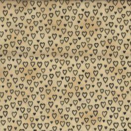 Beige quiltstof met bruin-gouden hartjes