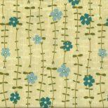 Gele quiltstof met blauwe en petrol bloemenrank