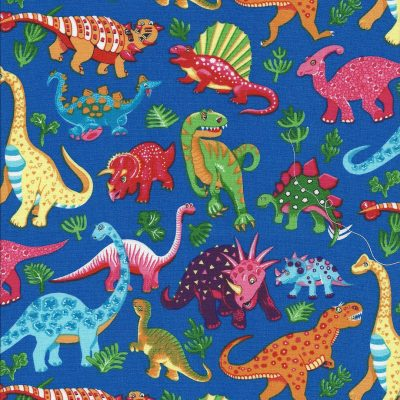Kobaltblauwe stof met veel kleurige Dinosaurussen-Stof