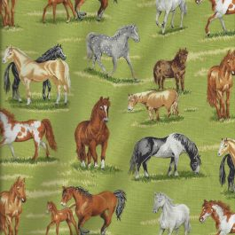 Licht groene grasstof met paarden