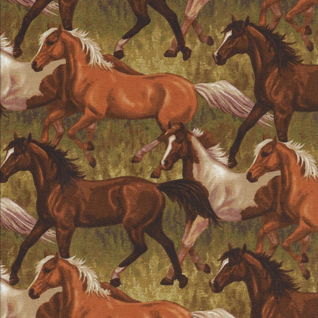 Paarden stof in groene vlakte