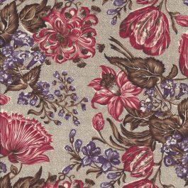 Beige gespikkelde stof met grote rode en paarse bloemen-Windham
