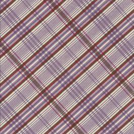 Ecru stof met paars  en bruine ruiten-Windham